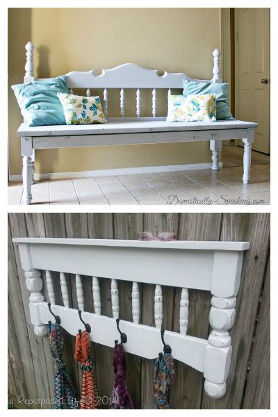 Bed Hacks: Turn old headboards and footboards into benches and coat racks!