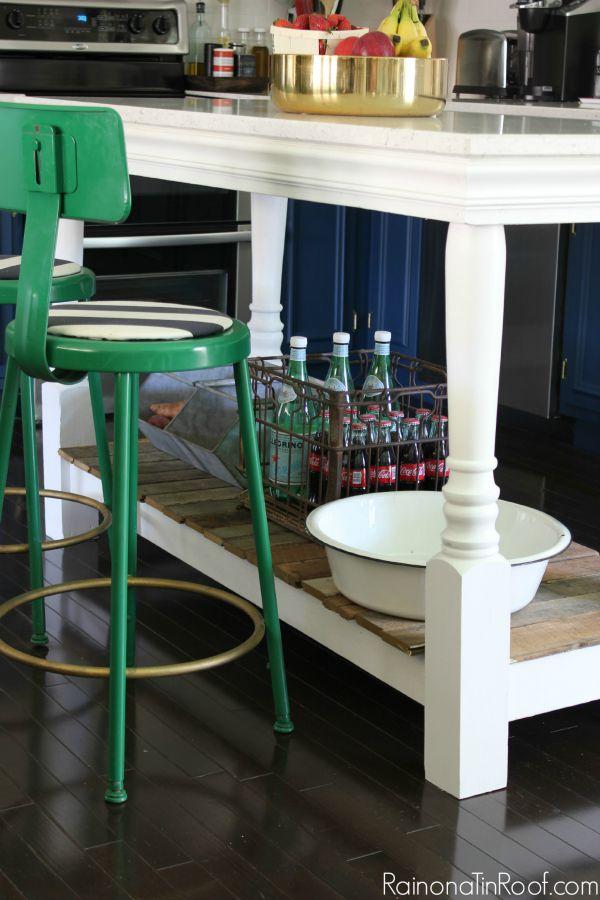 Modern Kitchen • DIY Island • Kelly Green Barstools