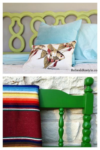 Headboard Makeovers: Shades of Green - Awesome furniture makeovers!