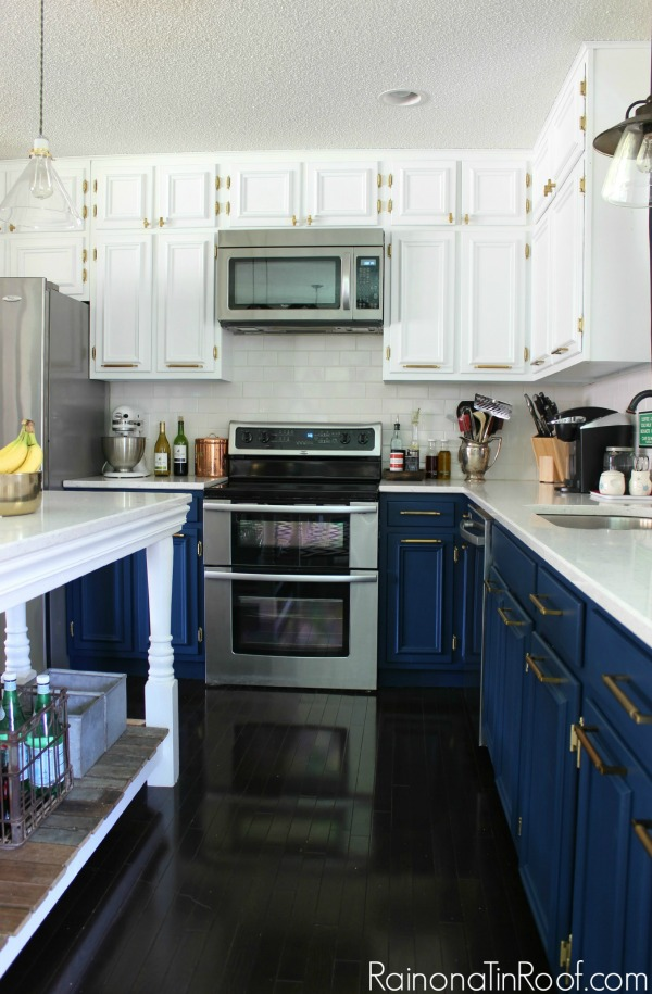 lower cabinets painted with dark blue