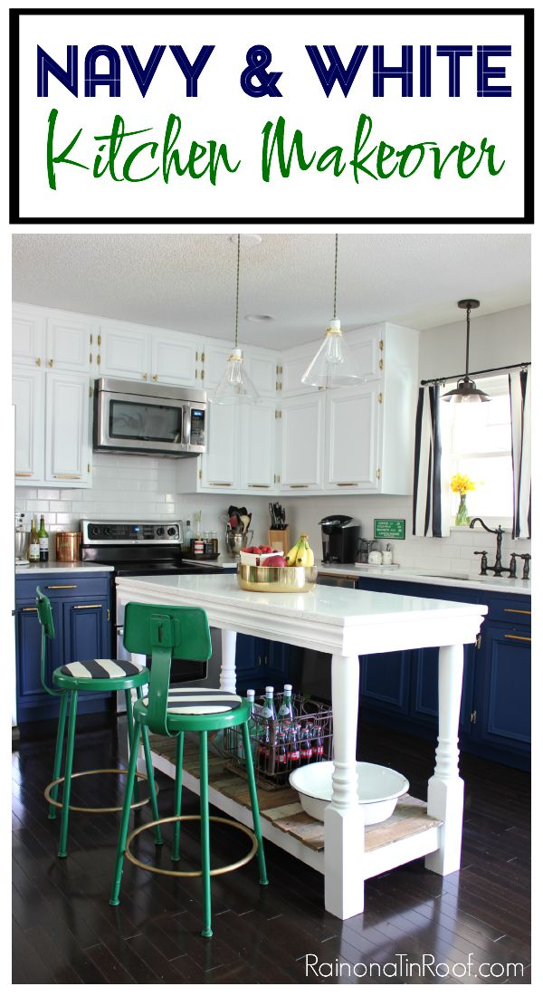 Navy And White Modern Kitchen