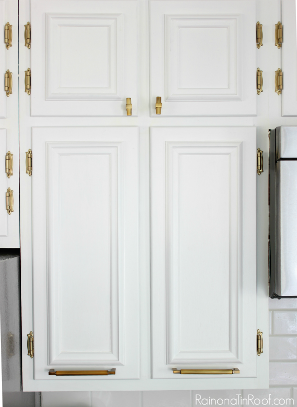 Modern Kitchen • White Painted Cabinets • Brass Hardware