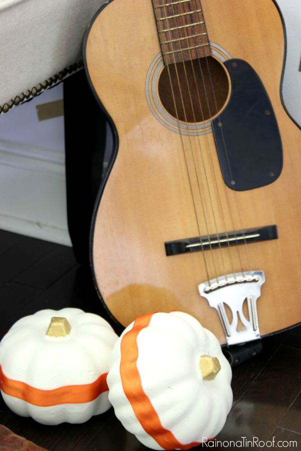Fall Home Tour with simple fall decorating ideas / Guitar for decorating / Dollar Tree Painted Pumpkins
