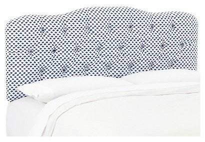 King Size Headboards for $300 or Less + Awesome Sources for all Sizes of Headboards - gorgeous selections and affordable! Navy and White Patterned Upholstered Headboard