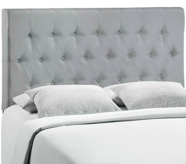 King Size Headboards for $300 or Less + Awesome Sources for all Sizes of Headboards - gorgeous selections and affordable! Grey Upholstered Headboard