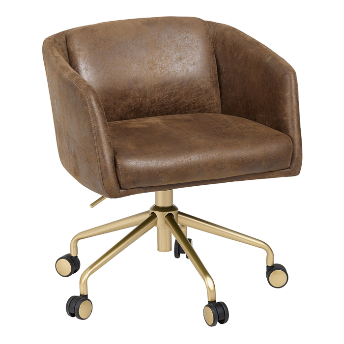 Stylish Office Chairs - Faux Brown Leather