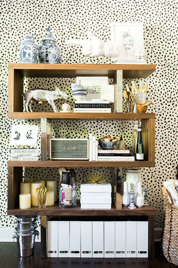 Rustic Bookshelf on animal print wall - Rain on a Tin Roof