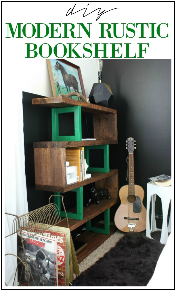 DIY Modern Rustic Bookshelf Build against a black wall - Rain on a Tin Roof
