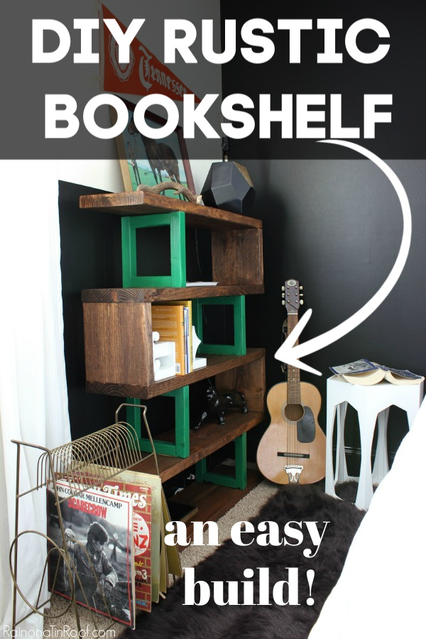 How to Build a Modern Rustic Bookshelf - easy DIY project - Rain on a Tin Roof