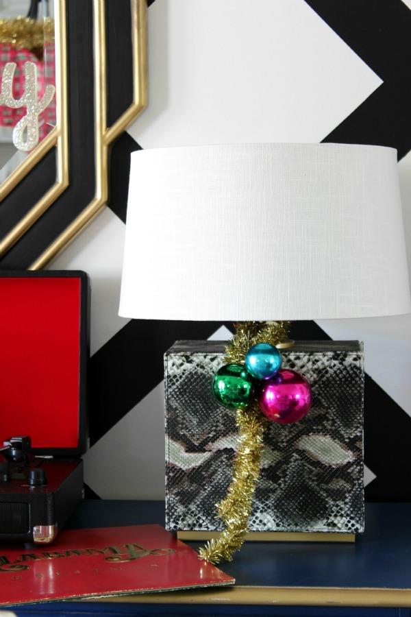 Ornament Clusters on Lamp / Christmas Home Tour / Holiday Decorating / Christmas Decorating / Holiday Decor / Christmas Decor