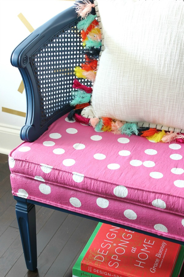 Simple Polka Dot Chair Makeover   She Used Velvet Finishes To Paint The  Chair And Upholstery