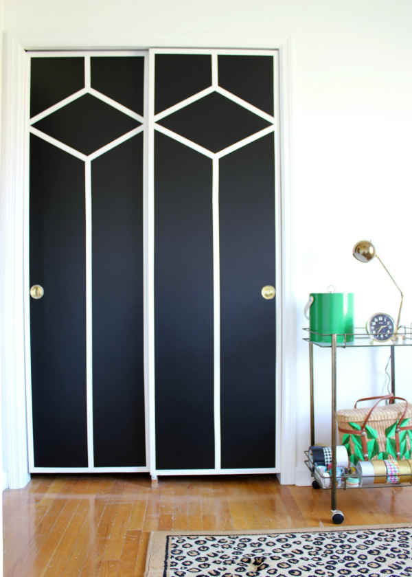 Stunning - AND she did it with paint and FrogTape! DIY Painted and Patterned Doors / Black and White Design / Black and White Decor / Interior Design