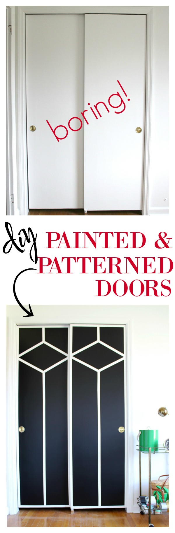 Diy painted and patterned doors for Closet door ideas diy