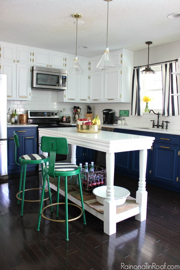 Decorating with Green: Green Barstools against a Navy and White Kitchen