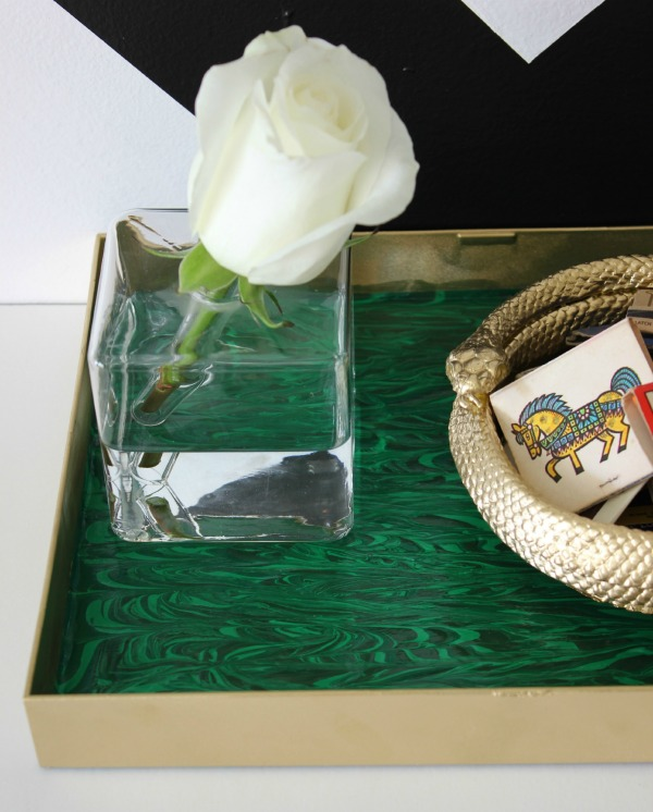 Decorating with Green: DIY Malachite Tray - you'll never believe how easy it is.
