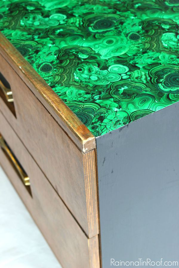 Decorating with Green: Malachite topped Credenza - an easy furniture makeover and DIY project