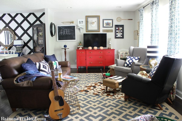 Spring Home Tour: The Evolution of Style | Living Room | Red Buffet | Eclectic Decorating