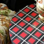That table is PAINTED - she PAINTED on that plaid pattern and it actually looks really easy. She even tells you how to do it without having to measure anything! How To Paint a Plaid Pattern   Furniture Makeovers   Furniture Painting   DIY Projects   Painting Patterns