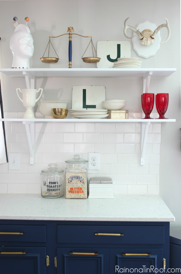 Spring Home Tour: The Evolution of Style | Navy and White Kitchen | Open Shelving Styling