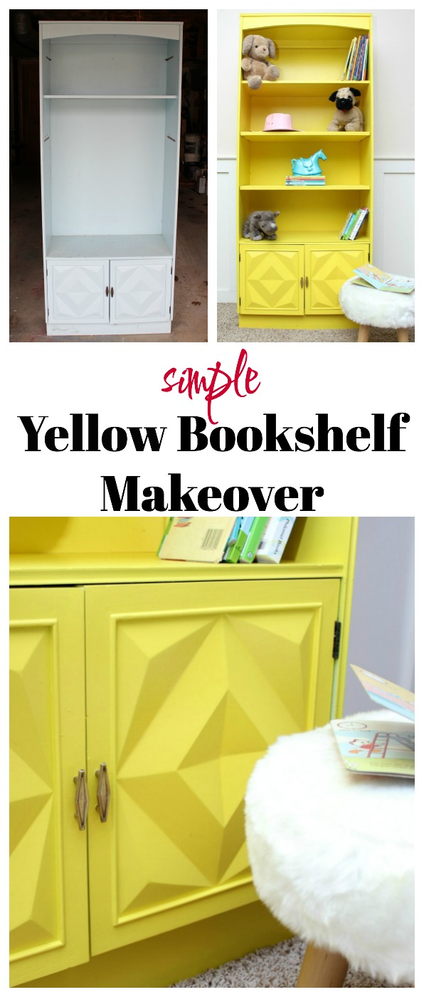 SO adorable! She used a paint sprayer to paint this piece of furniture and it looks so simple! Yellow Bookshelf Makeover | Furniture Makeover | Furniture Painting