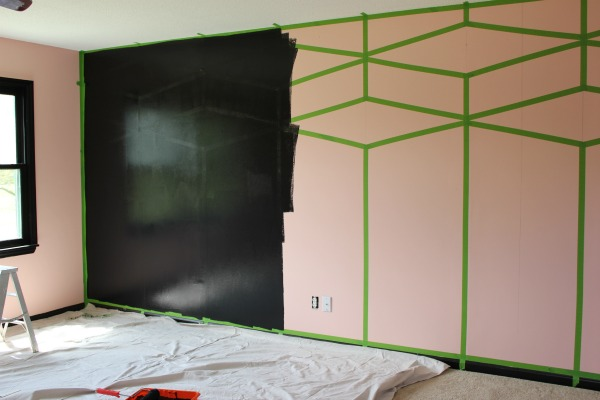 Black Paint over Taped Wall to create a feature wall!