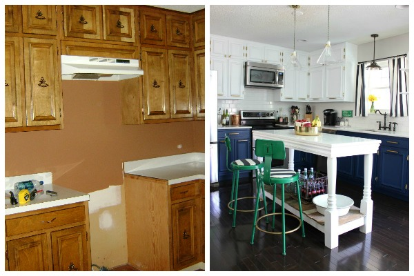 Renovate for YOU! Lots of great ideas in this article about home renovating and great resources too! Kitchen Renovation / Kitchen Remodel / Budget Kitchen Makeover / Navy and White Kitchen