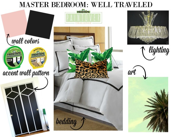Master Bedroom Design Board: Well Traveled - a mix of animal prints, palms and pink.