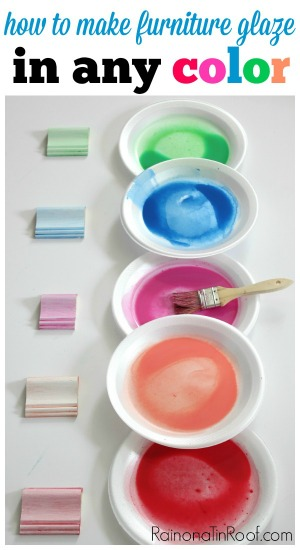 Instead of using antique glaze, make your own COLORED glaze! How fun would this be for a beach house or a kid's room?! There are lots of other great tips for painting furniture in this article too!