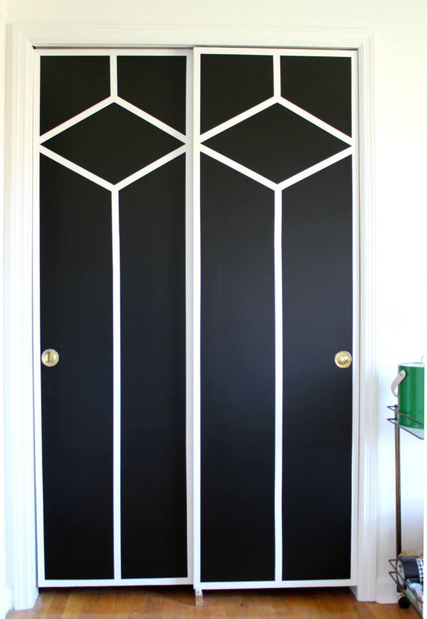 Wall Paint Design Ideas with Tape - black and white diamond pattern on closet doors.