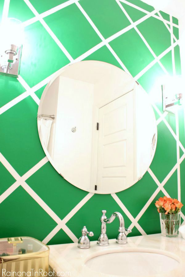 Wall Painting Ideas and Paint Designs ANYONE Can Do! This article is FULL of DIY painting ideas including wall painting techniques, wall painting designs and other painting ideas like this cane inspired accent wall!