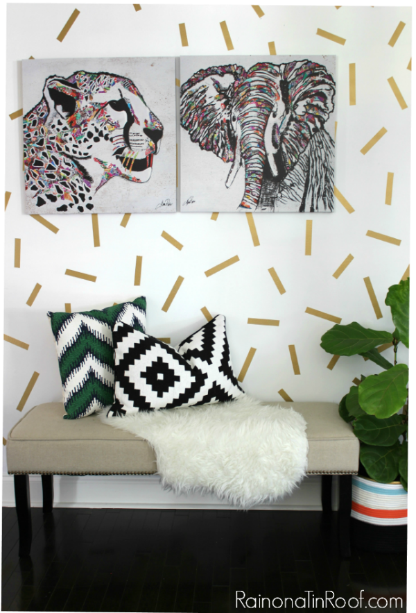 Wall Painting Ideas and Paint Designs ANYONE Can Do! This article is FULL of DIY painting ideas including wall painting techniques, wall painting designs and other painting ideas like this confetti accent wall!