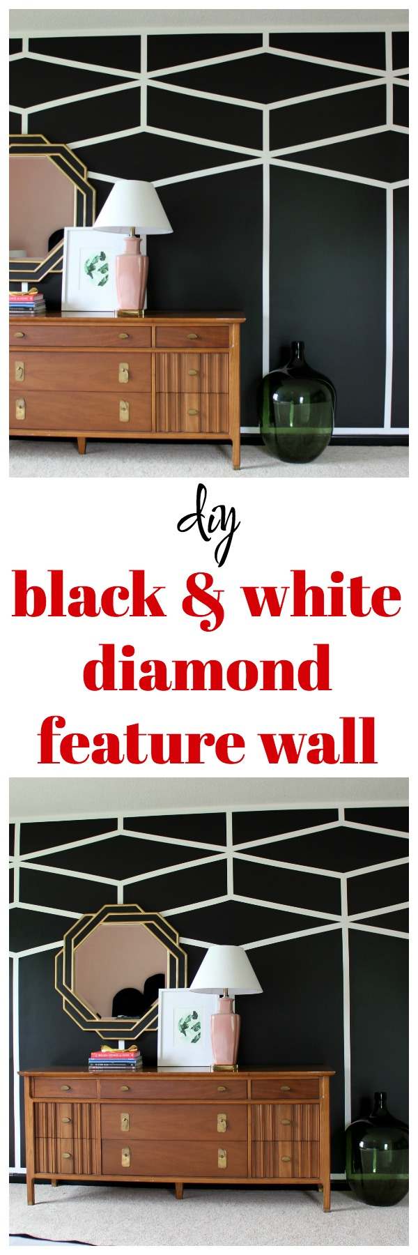Black & White Diamond Feature Wall | DIY Accent Wall Designs | Feature Wall Ideas | Accent Wall Ideas | Accent Wall Bedroom