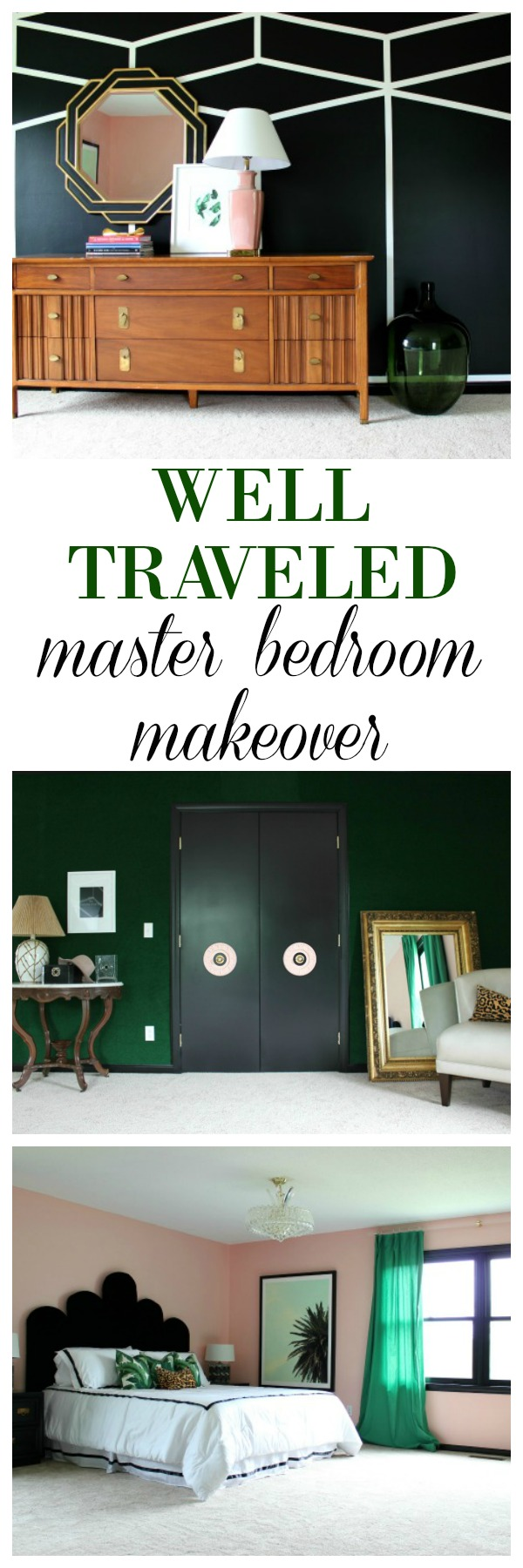Well Traveled Master Bedroom Makeover Reveal - DO NOT miss this master bedroom! It combines bold black and white, a touch of green, pink and a dash of Palm Beach! STUNNING! Lots of great DIY project ideas for bedrooms in this article!