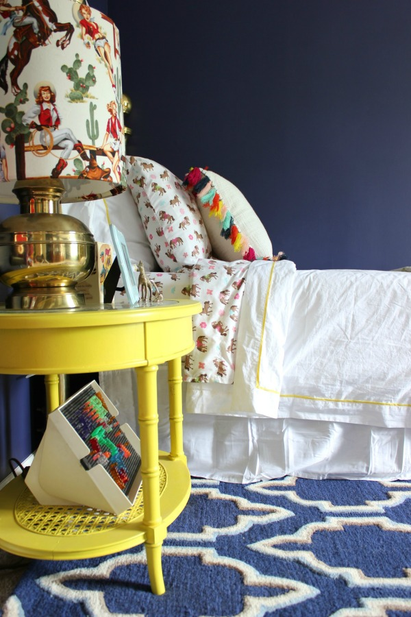Such a perfect kid's room - not too babyish, but not too grown up. Will grow well with the child! LOVE all the color! A must-see! The 70's Landing Pad Home Tour, Part 2: The Circus' Room | Kid's Bedroom Ideas | Love the mix of colors and patterns in this child's room.
