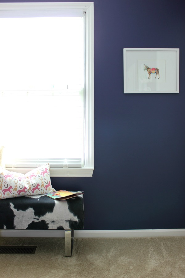 Such a perfect kid's room - not too babyish, but not too grown up. Will grow well with the child! LOVE all the color! A must-see! The 70's Landing Pad Home Tour, Part 2: The Circus' Room | Kid's Bedroom Ideas | Donkey Art | Faux Cowhide Bench