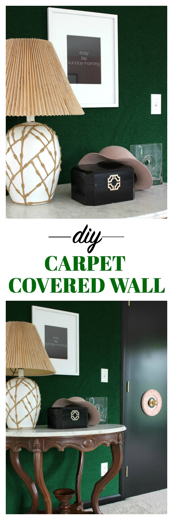 Diy green carpet covered wall for Cheap wall to wall carpet