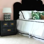 This is an EASY DIY headboard that even beginning DIYers can make! Switch up the upholstery to your style! DIY Hollywood Regency Headboard   DIY Velvet Headboard   Black Velvet Headboard   Scalloped Headboard   Retro Headboard   Vintage Style Headboard   Palm Beach Inspired Bedroom and Headboard