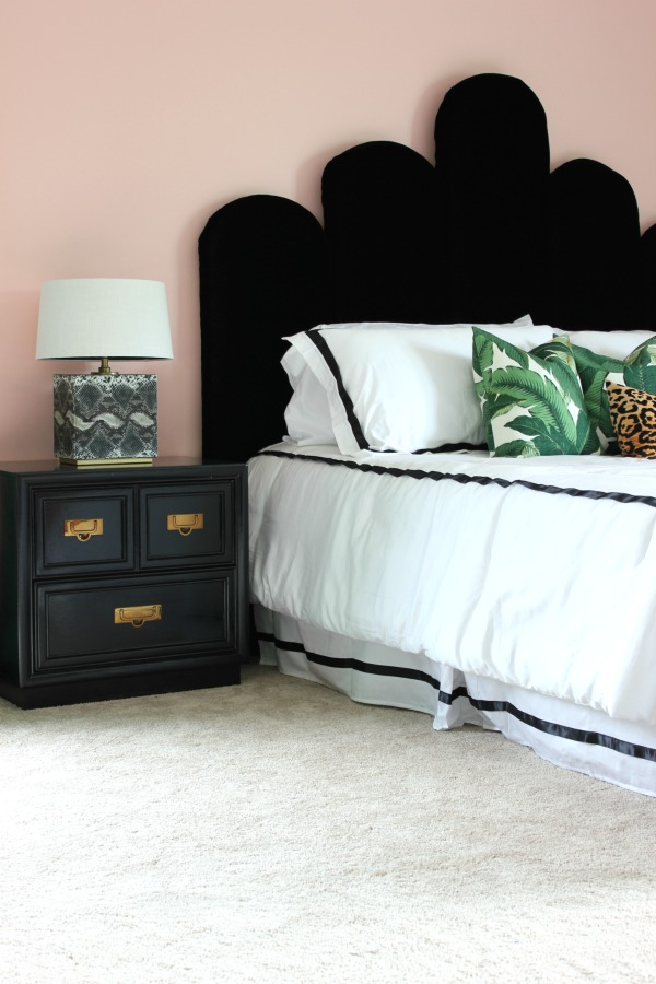 Hollywood Glam meets Palm Beach Master Bedroom Makeover | Master Bedroom Ideas | Master Bedroom Decor | Master Bedroom Design | DIY Headboard