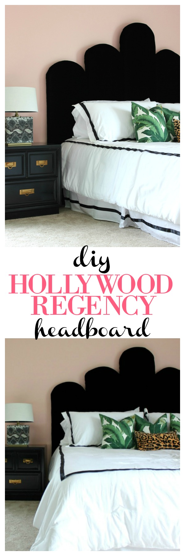 DIY Upholstered Headboard | DIY Headboard Ideas | Headboard DIY | Easy DIY Headboard | Hollywood Regency Headboard | DIY Velvet Headboard