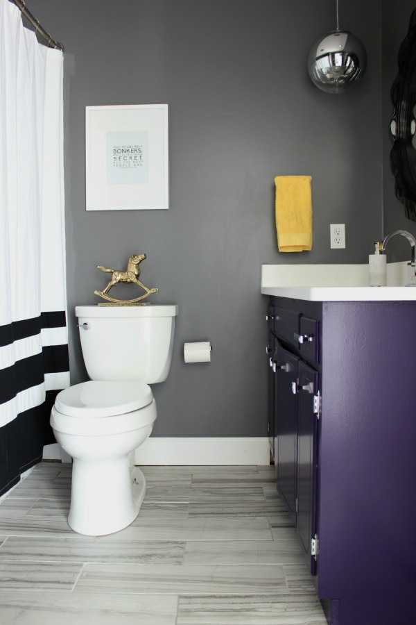 Gray Purple Black White Bathroom Makeover 7 · Hall Bathroom Remodel