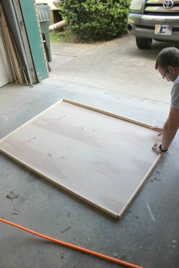 DIY Large Picture Frame - cutting the pieces for the frame - Rain on a Tin Roof