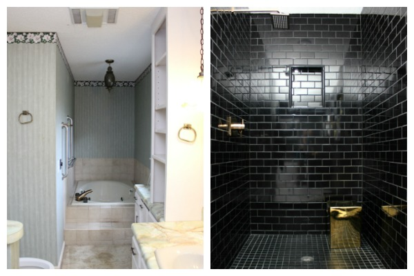 Black, Gray, and Brass Master Bathroom Remodel | Black Bathroom Ideas | Gray Bathroom Ideas | Bathroom Remodel | Master Bathroom Ideas