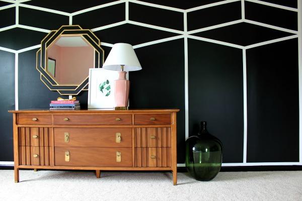 DIY Black & White Diamond Feature Wall