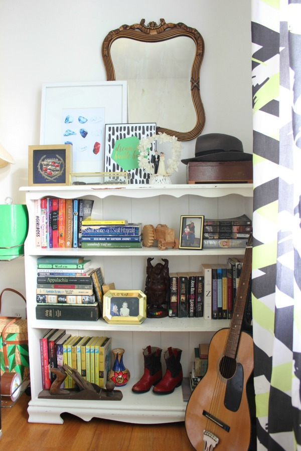 Great ideas for incorporating family trinkets and treasures into your decor! The 70's Landing Pad Office Tour: Full of family treasures and trinkets, but decorated tastefully and with a touch of flair.