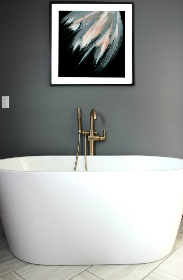 Black gray and brass master bathroom remodel for Master bathroom fixtures