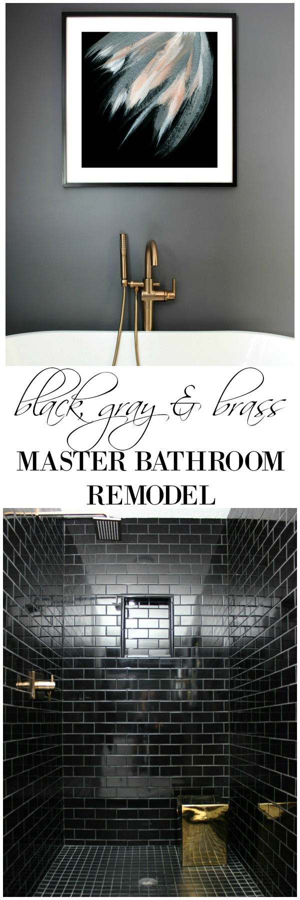 This bathroom remodel is gorgeous. It's a great combination of masculine and feminine design perfectly balanced. Black, Gray, and Brass Master Bathroom Remodel | Black Subway Tile Shower | Dark Gray Walls | Brass Faucets | Art above Bathtub