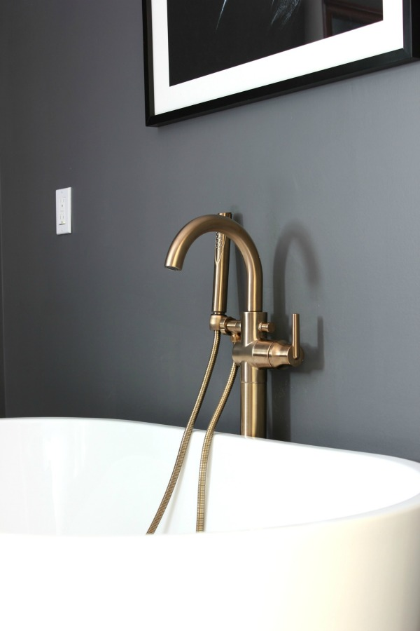 Master Bathroom Remodel | Delta Trinsic Floor Mount Tub Filler in Champagne Bronze