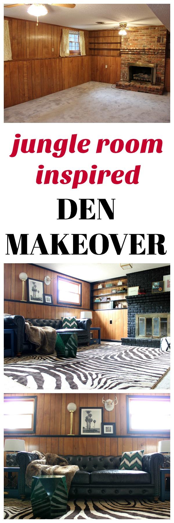 Jungle Room Inspired Den Makeover | Den Ideas | Den Decorating Ideas | Jungle Room Ideas | Elvis Jungle Room | Den Ideas with Fireplace
