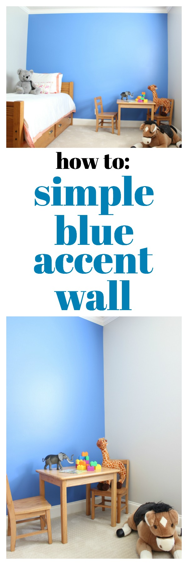 Simple Blue Accent Wall | DIY Accent Wall Ideas | DIY Feature Wall Ideas | Kid's Room Decor | Easy Accent Wall | Behr Boat House