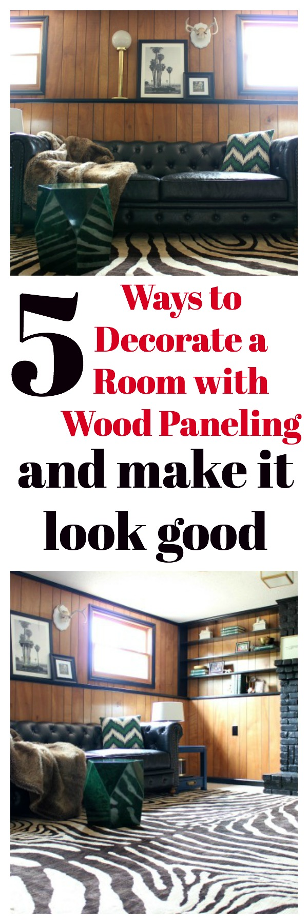 Five Ways to Decorate a Room with Wood Paneling and Make It Look Good | These are really great ideas to save some money and to help you learn to love your wood paneling! | Den | Jungle Room | 70's Inspired Interior Design